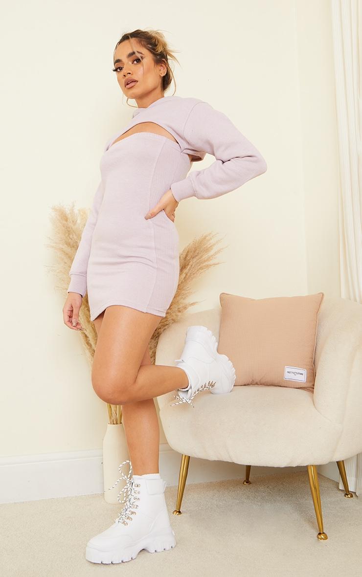 Petite Lilac Cut Out Hoody Dress 3