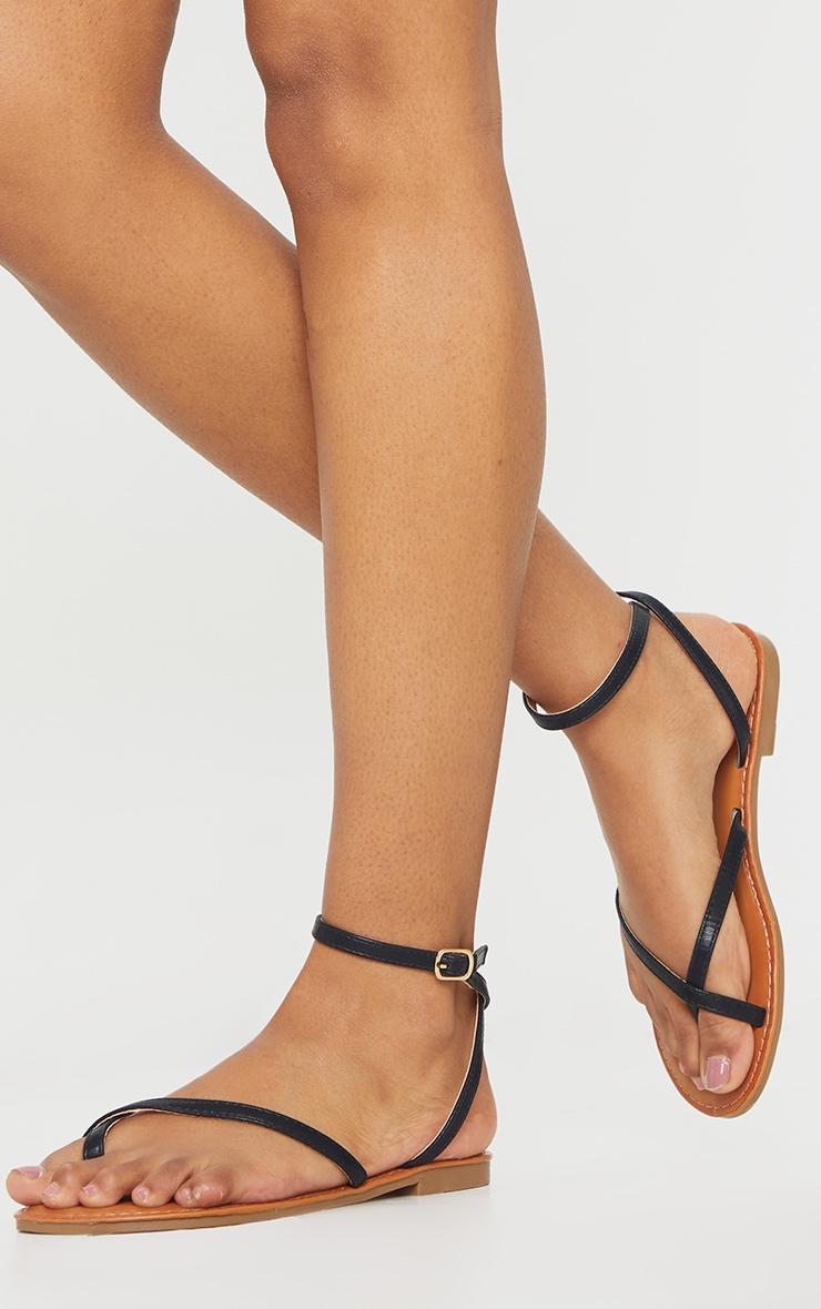 Black PU Cross Over Flat Mule Sandals 1