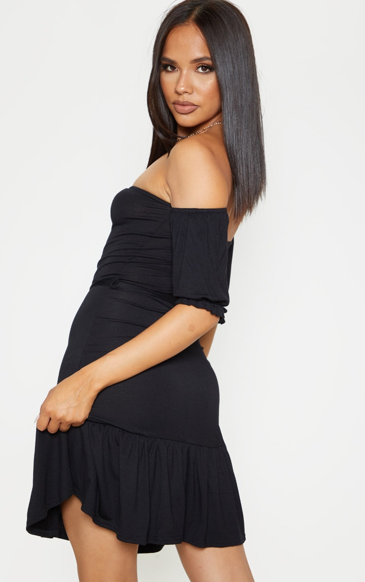 Black Bardot Frill Hem Skater Dress 2