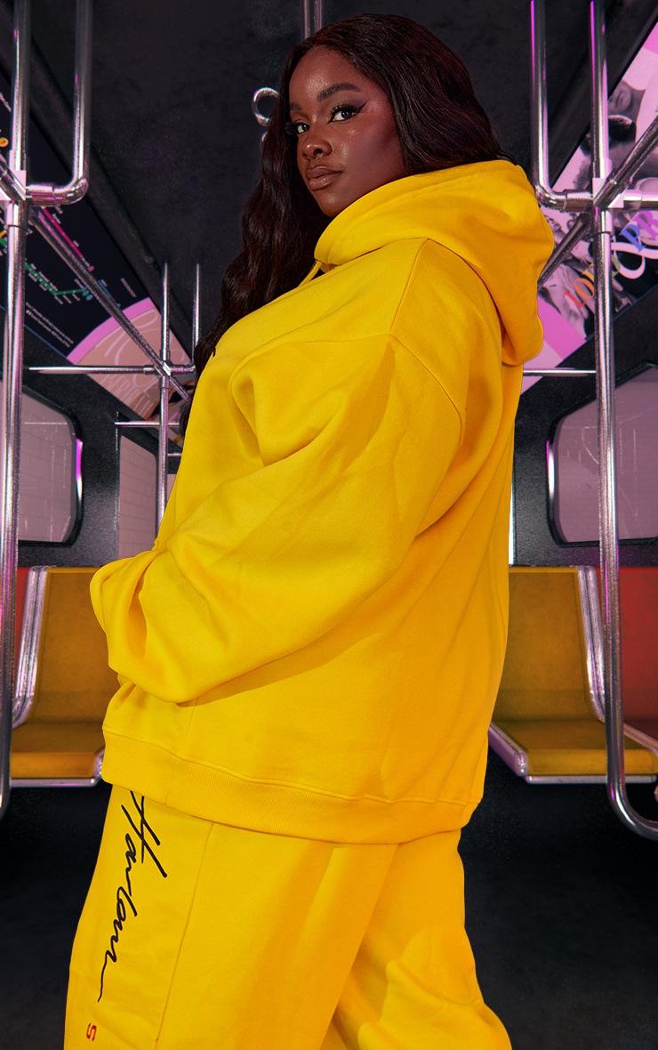 Plus Yellow Unisex Printed Oversized Hoodie 4