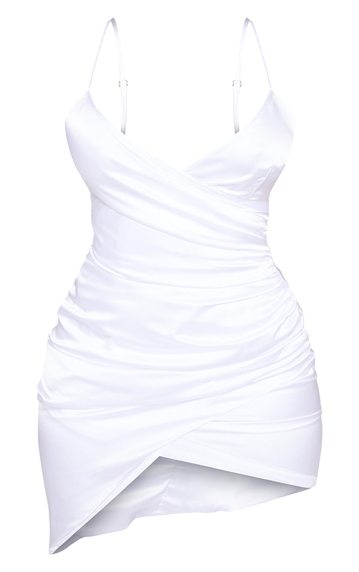 Shape White Satin Wrap Dress 3