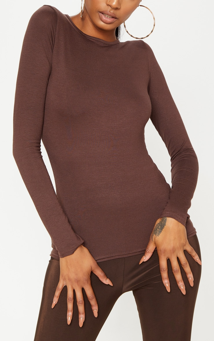 Basic Chocolate Fitted Long Sleeve T Shirt 5