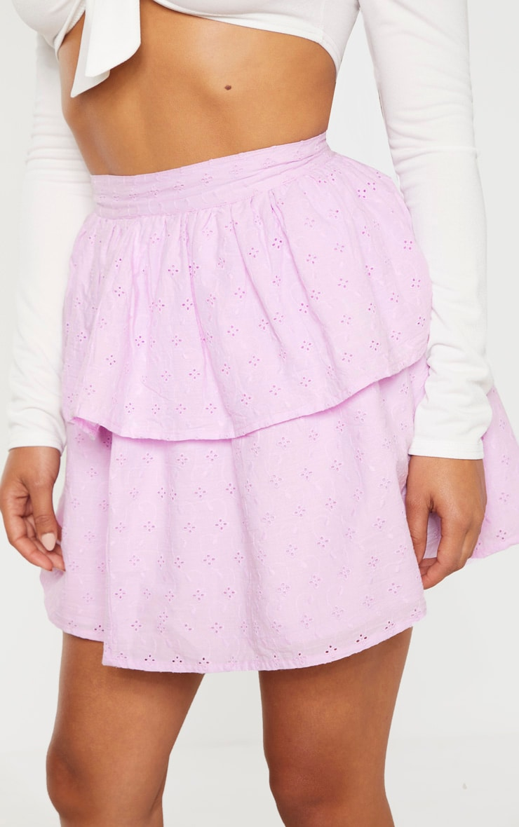 Petite Lilac  Frill Tiered Broderie Anglaise Skirt 6