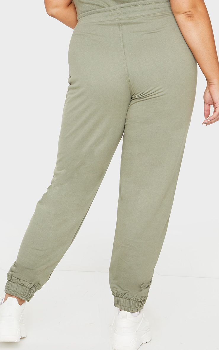 PRETTYLITTLETHING Plus Sage Khaki High Waisted Joggers 3