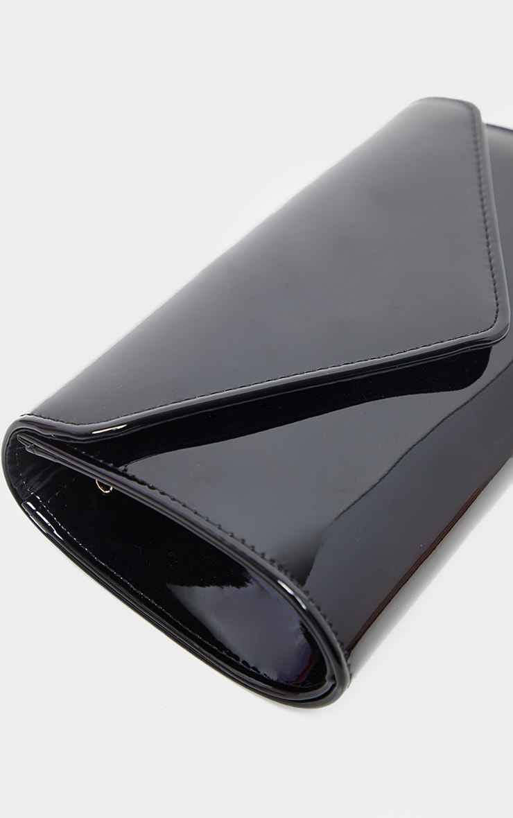 Black Patent Medium Envelope Clutch Bag 4