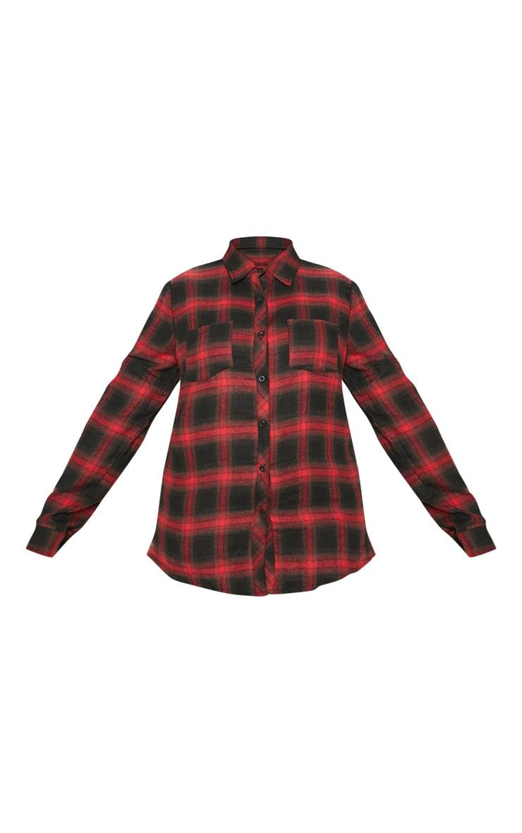 Plus Red Tartan Oversized Shirt 3