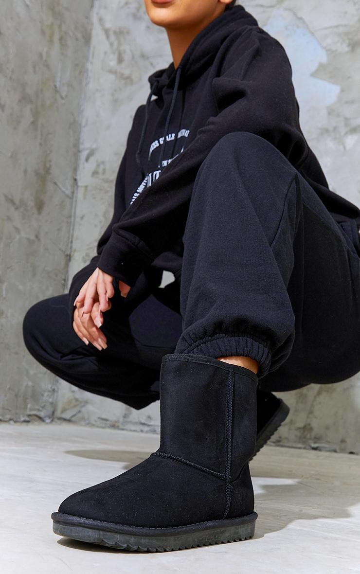 Black Faux Suede Ankle Boots 1