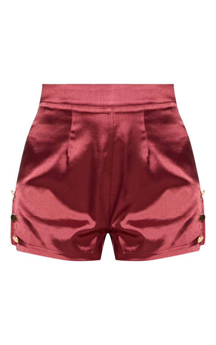 Maroon Satin Military Button Detail Shorts 3