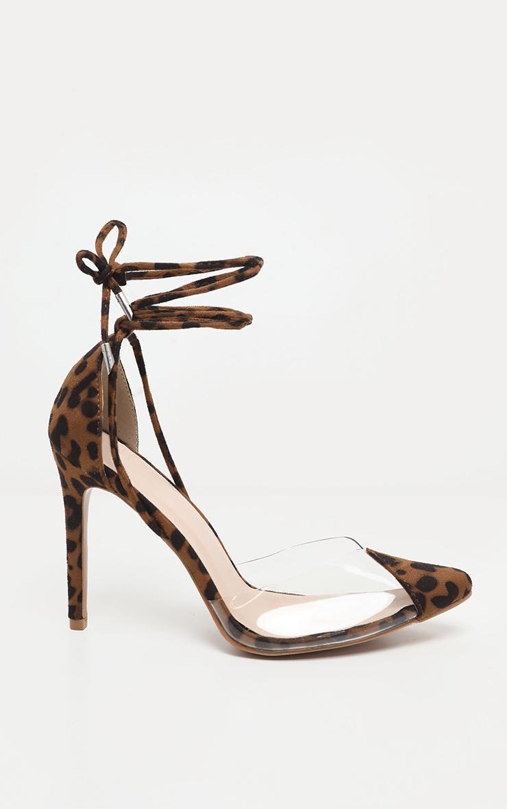 Leopard Clear Ankle Tie Court Shoes 3