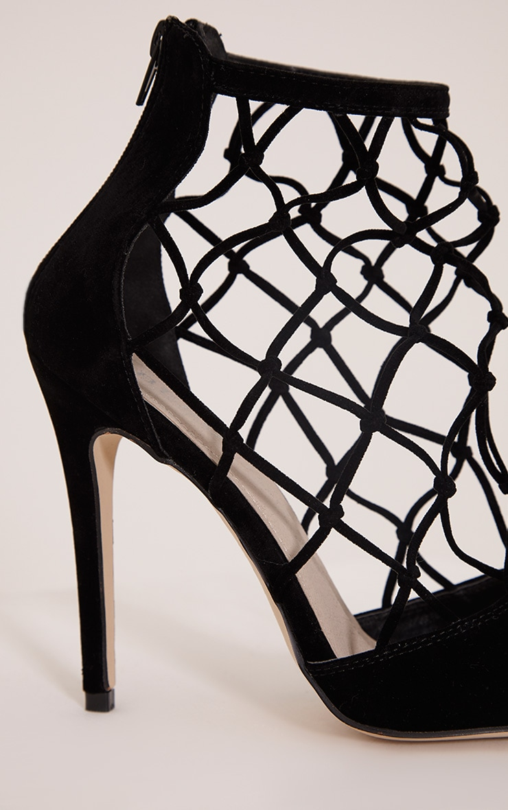 Yasmin Black Net Detail Heeled Sandals 5
