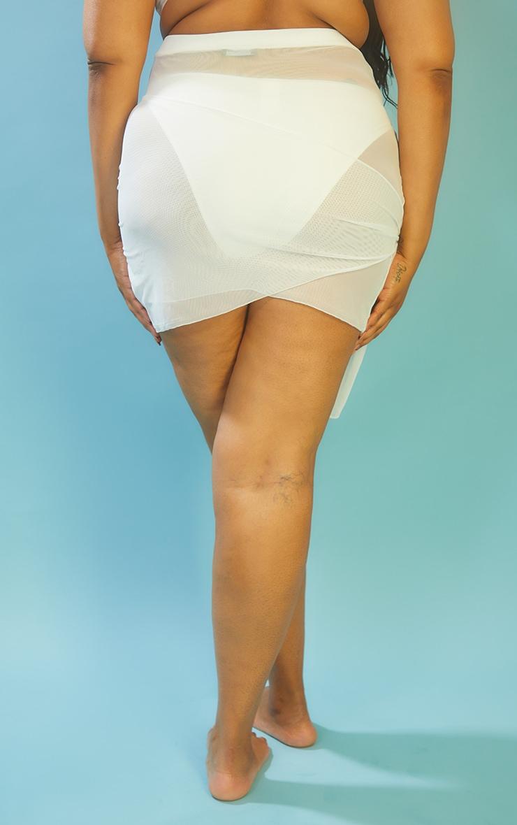 Plus White Mesh Wrap Beach Skirt 3