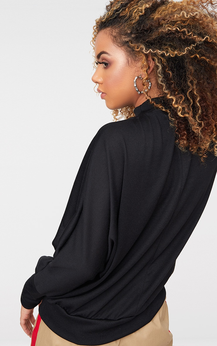 Black Batwing Knitted Top 2