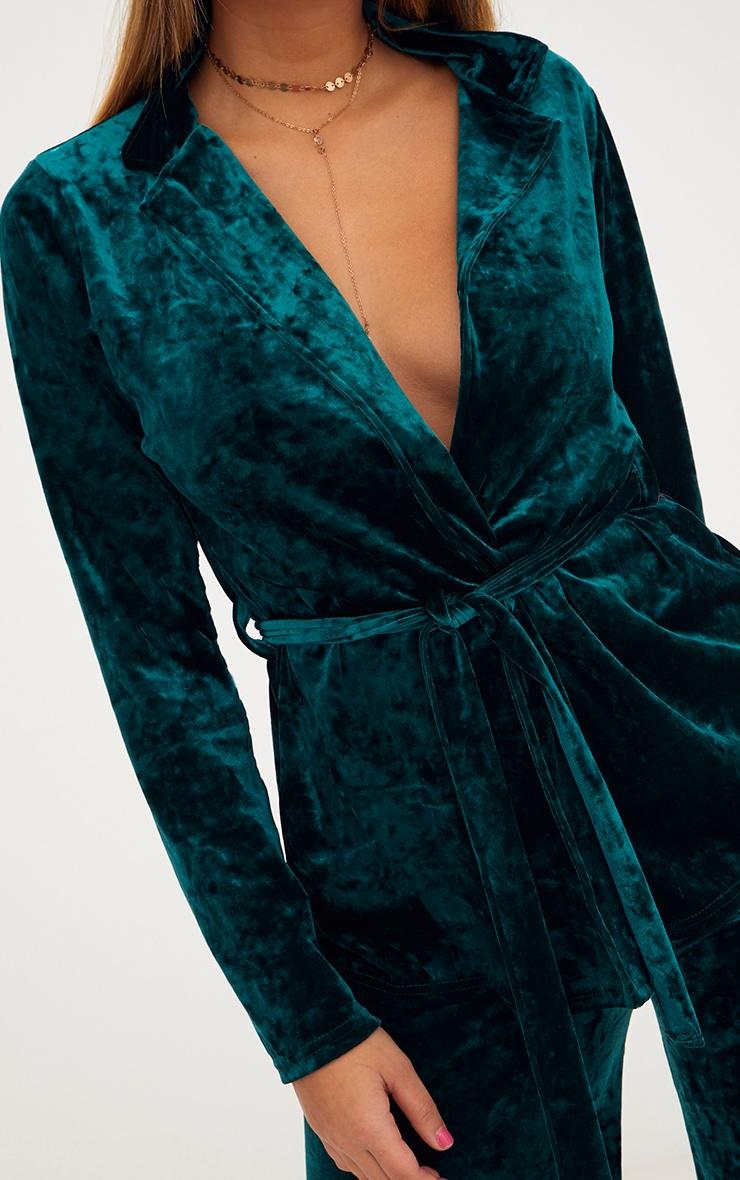 Emerald Green Crushed Velvet Belted Blazer 5
