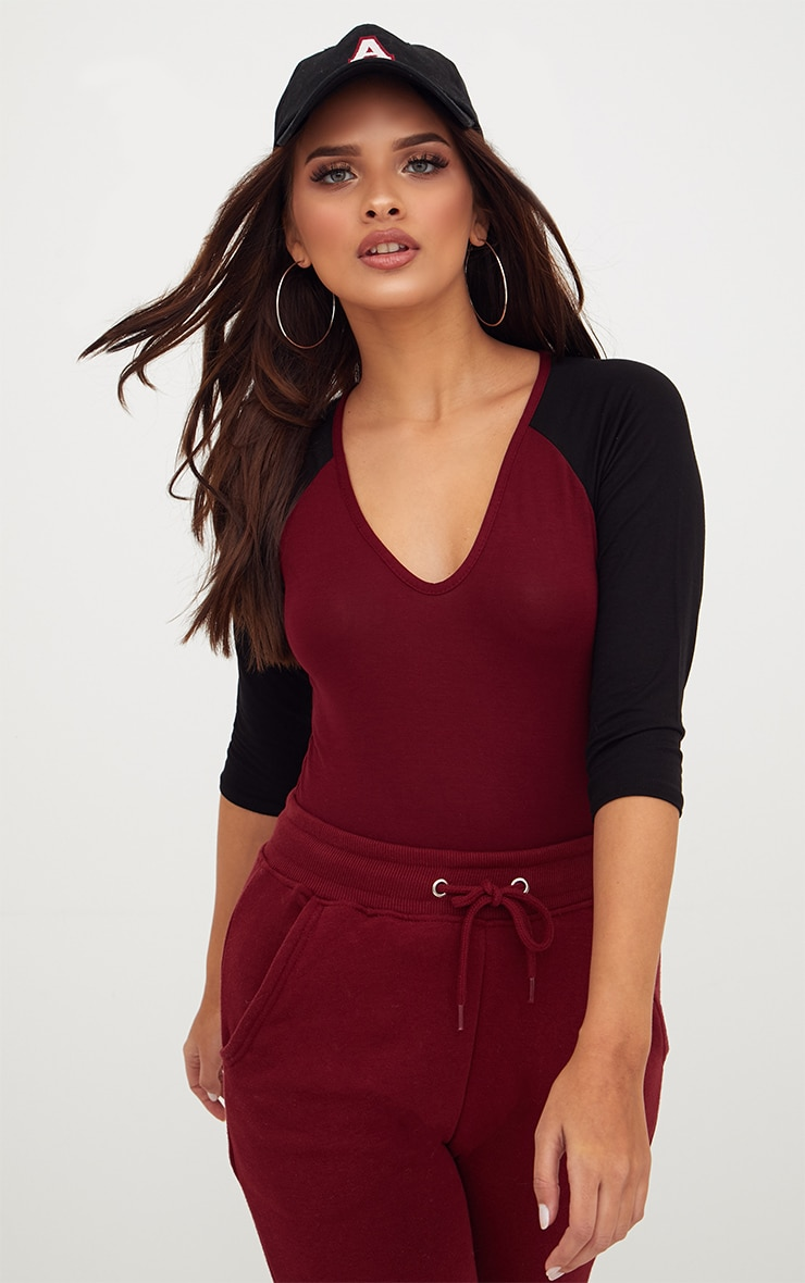 Burgundy Jersey Contrast Sleeve Thong Bodysuit 2