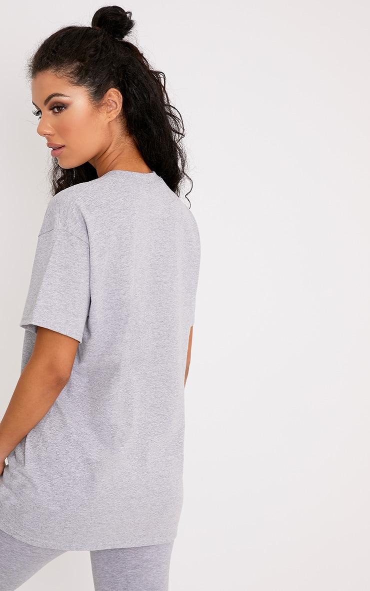 PRETTYLITTLETHING Slogan Grey Oversized T Shirt  2