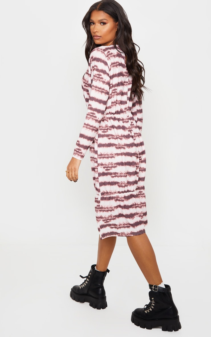 Pink Marble Print Crepe Long Sleeve Tiered Midi Dress 3