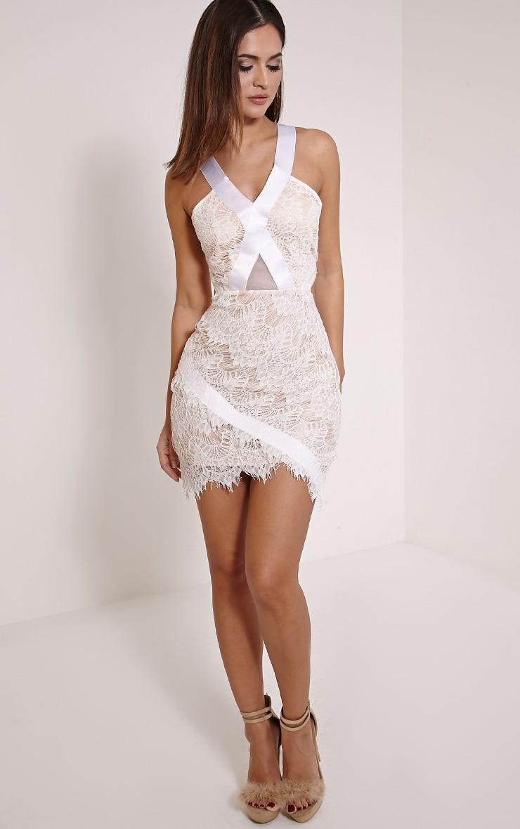 Fai White Cross Back Lace Bodycon Dress 4