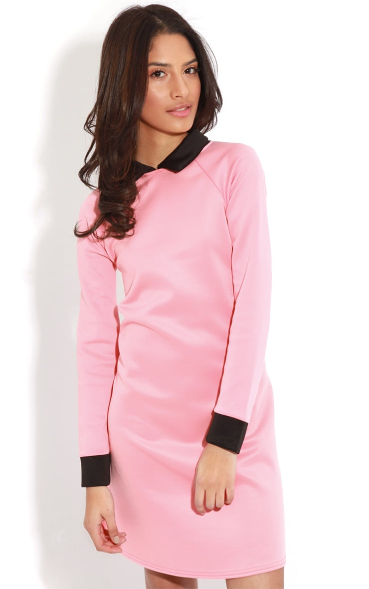 Evelyn Coral Long Sleeved Collar Dress 1