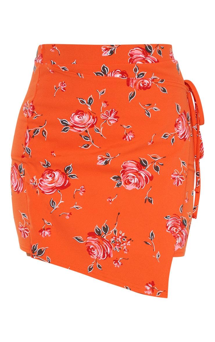 Orange Floral Print Crepe Floral Print Wrap Detail Skirt 3