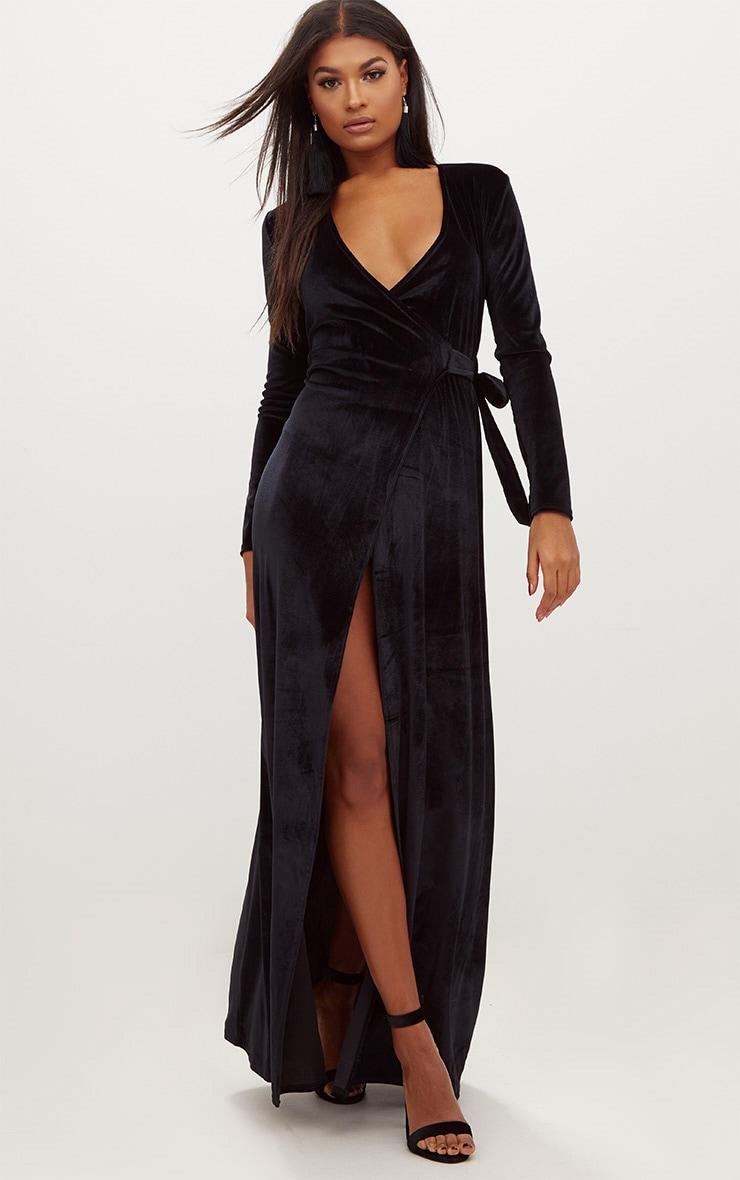 Black Velvet Wrap Kimono Style Maxi Dress 1