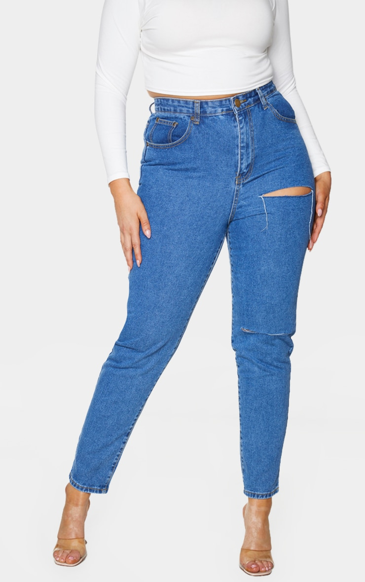 Plus Mid Blue Washed Slit Detail Straight Leg Jeans 2