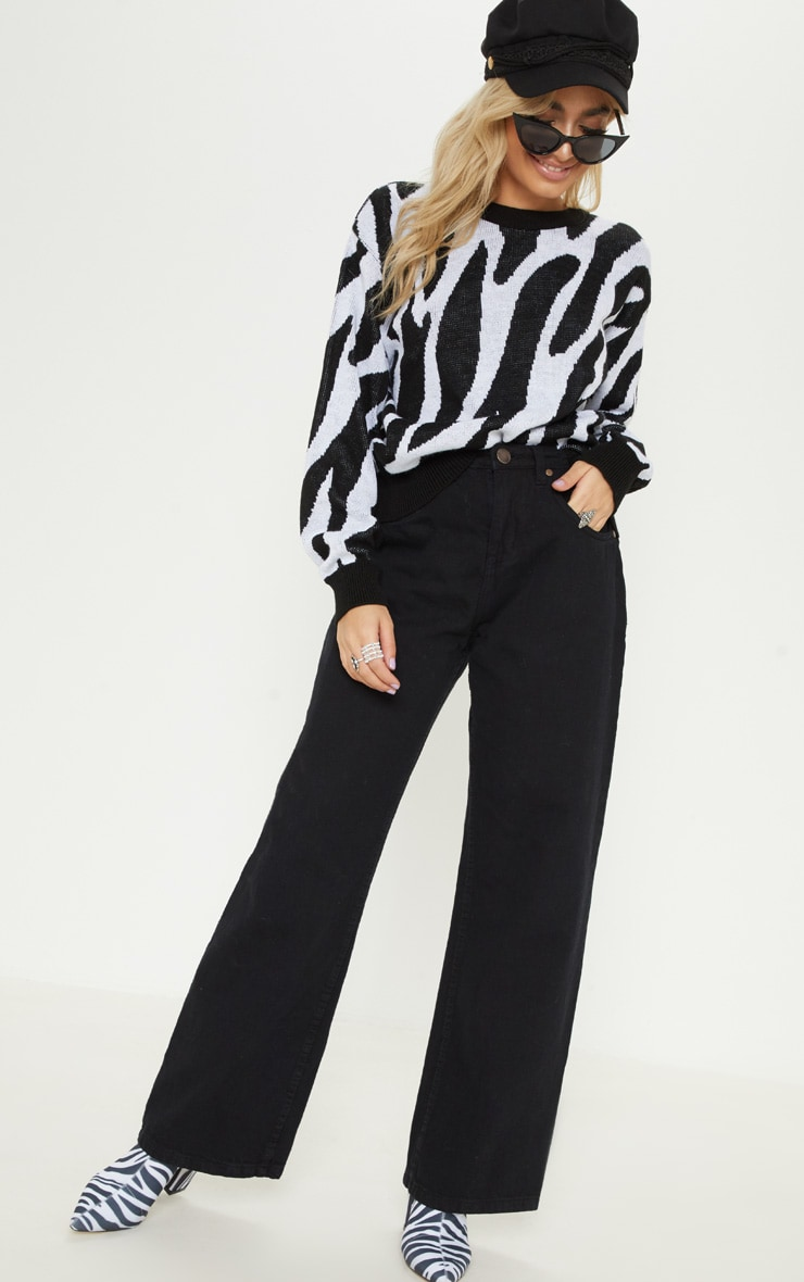 Petite White Zebra Print Sweater  4