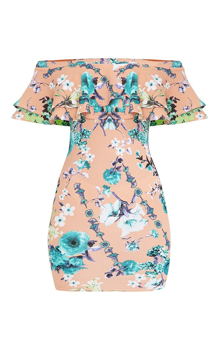 Geneva Pink Floral Frill Bardot Bodycon Dress 3
