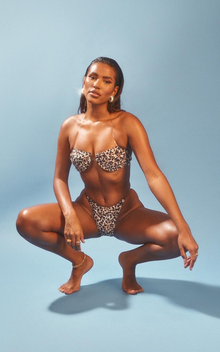 Leopard Clear Strap Underwired Bikini Top 3