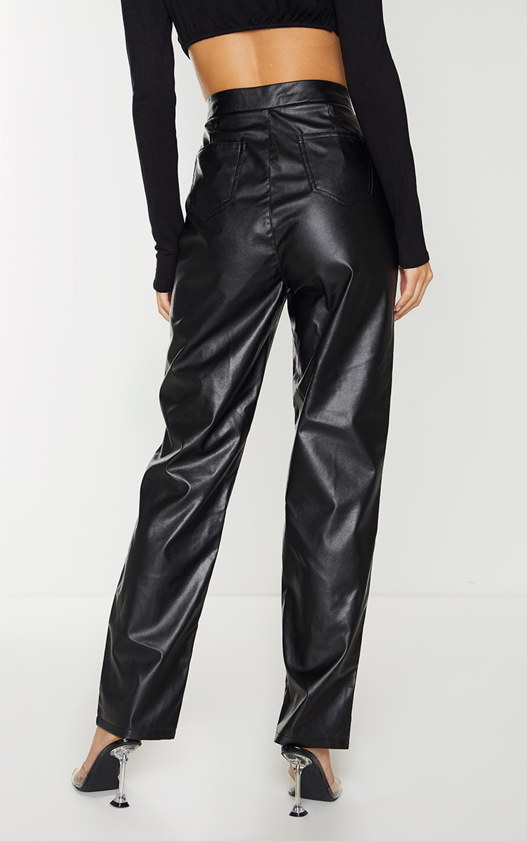 Black Faux Leather Pintuck Detail Straight Leg Trousers 3