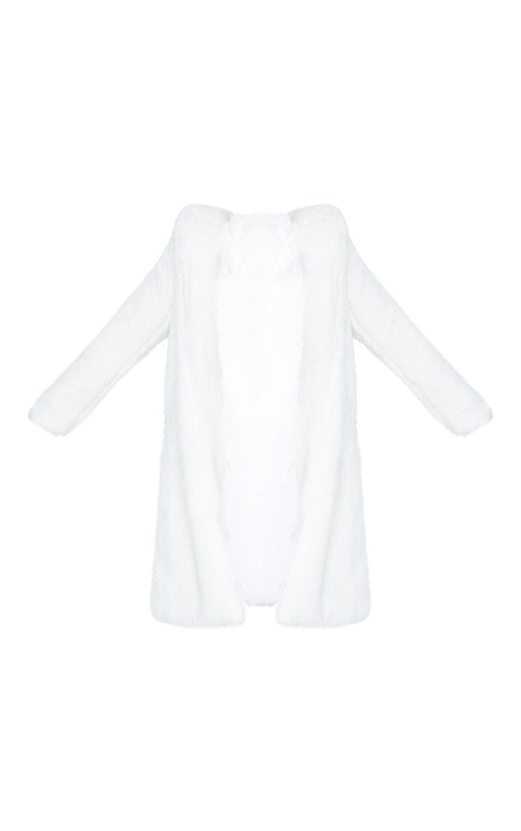 Manteau long à capuche en fausse fourrure deluxe blanche  4