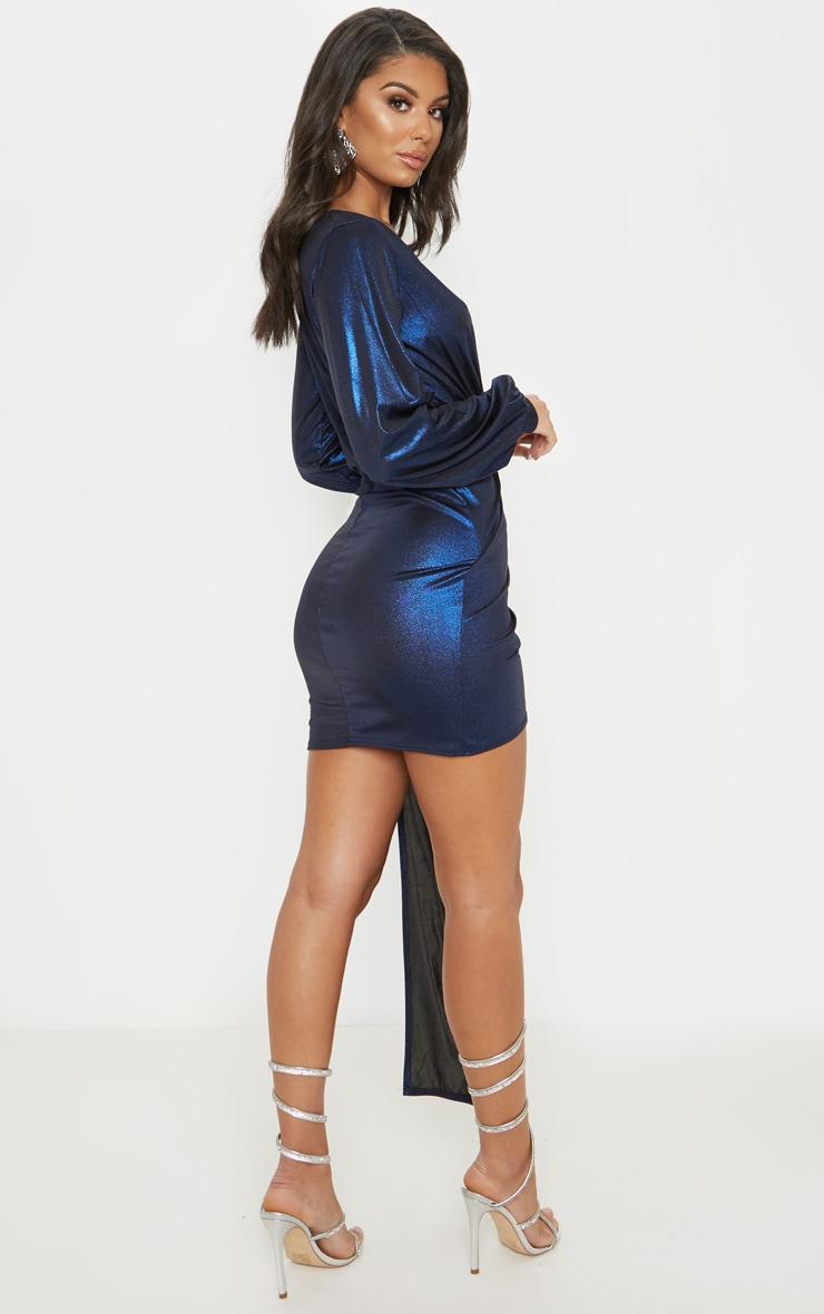 Blue Metallic Slinky Drape Detail Bodycon Dress 2