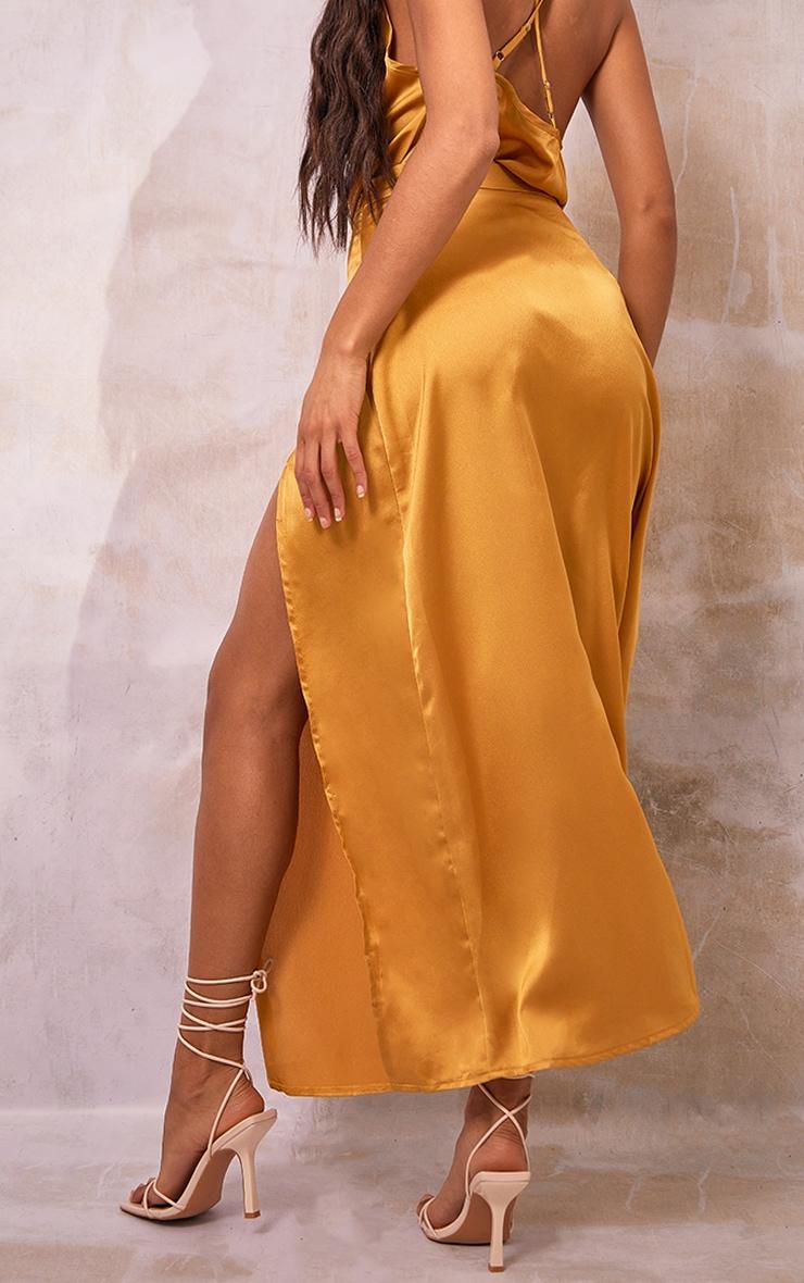 Mustard Satin Split Leg Maxi Skirt 3