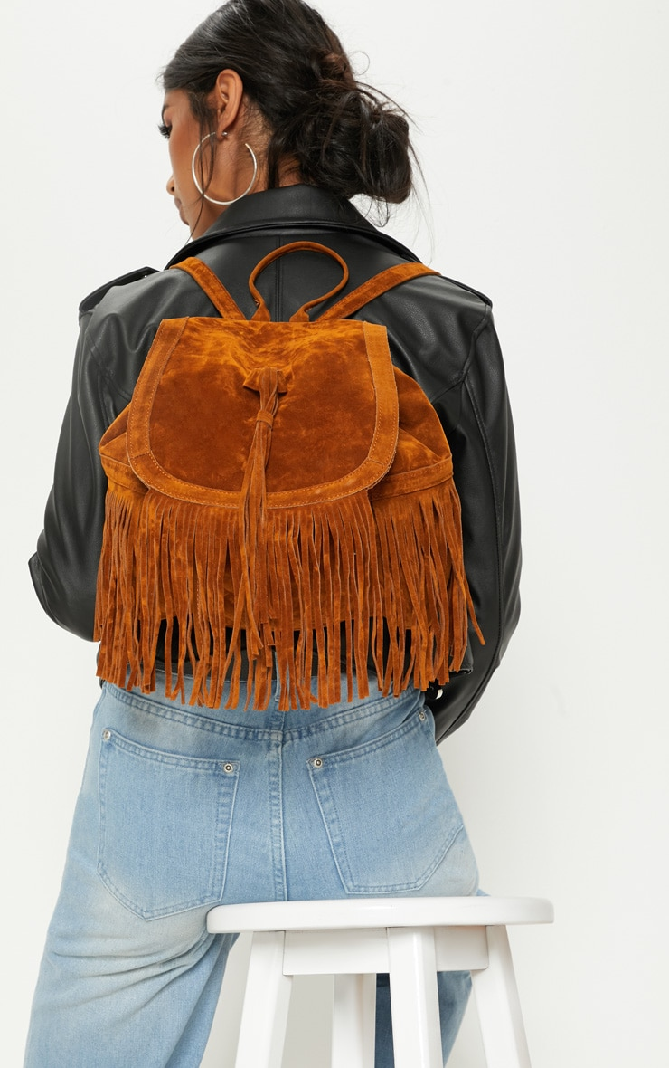 Tan Suedette Fringe Backpack 2