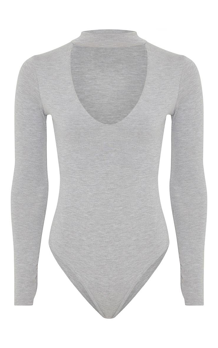 Zena Grey Cut Out Neck Long Sleeve Jersey Bodysuit 3