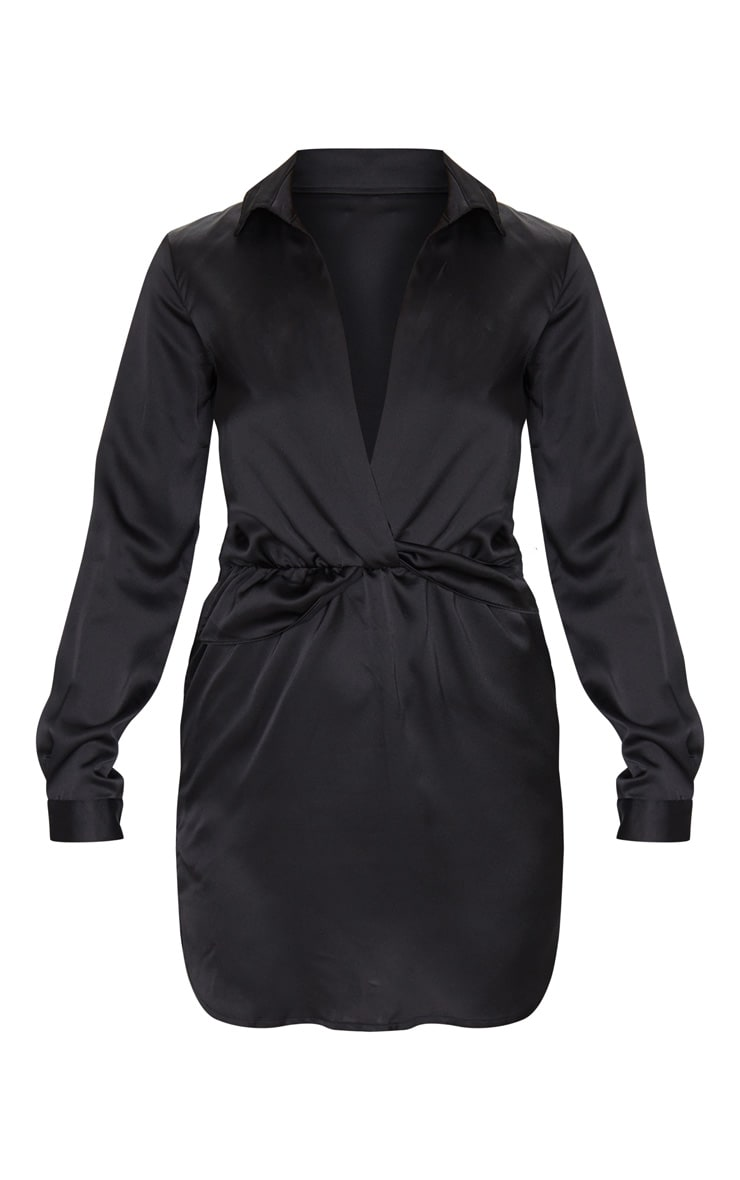 Katalea Black Twist Front Silky Shirt Dress 4