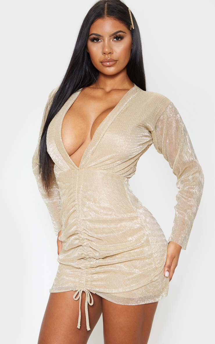 Gold Metallic Plisse Ruched Front V Plunge Bodycon Dress 1