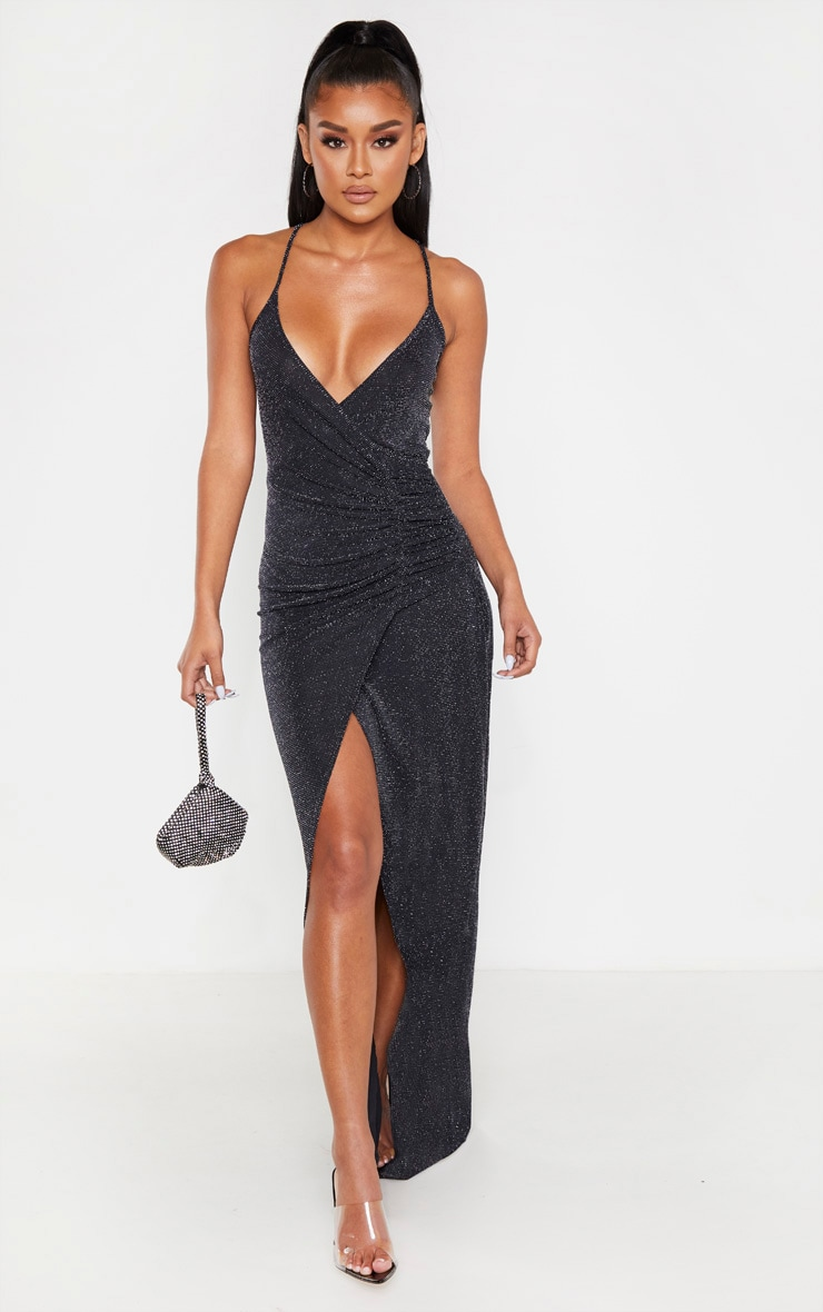 Black Strappy Textured Glitter Plunge Ruched Maxi Dress 1