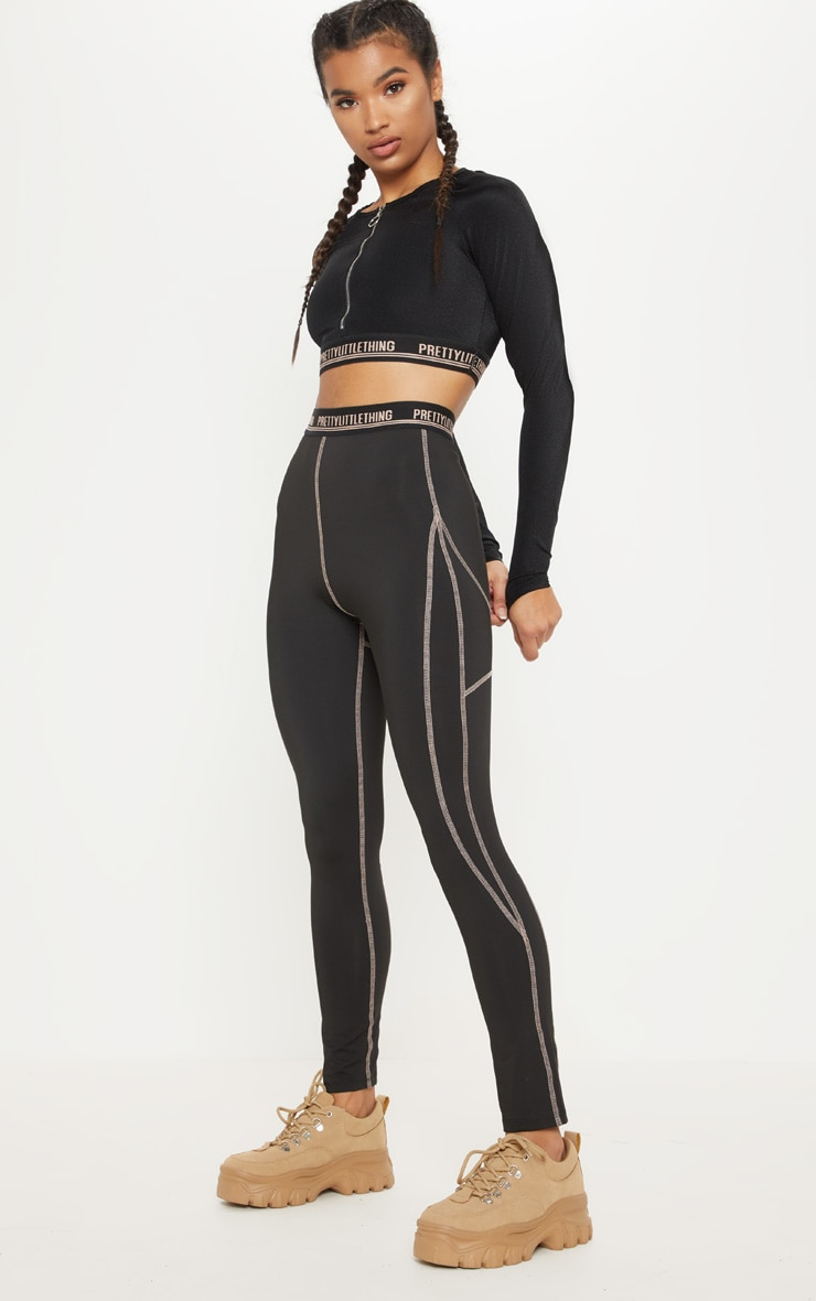 Black Contrast Stitch Gym Legging 1