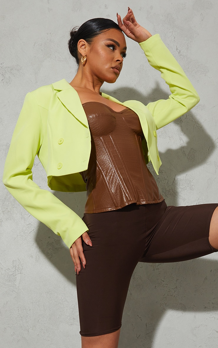 Lime Double Breasted Cropped Blazer 1