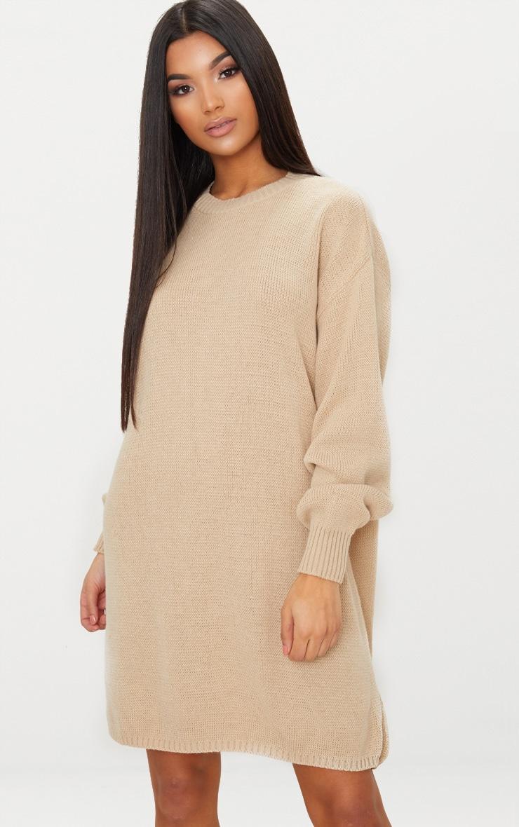 Stone Oversized Knitted Jumper Dress 4