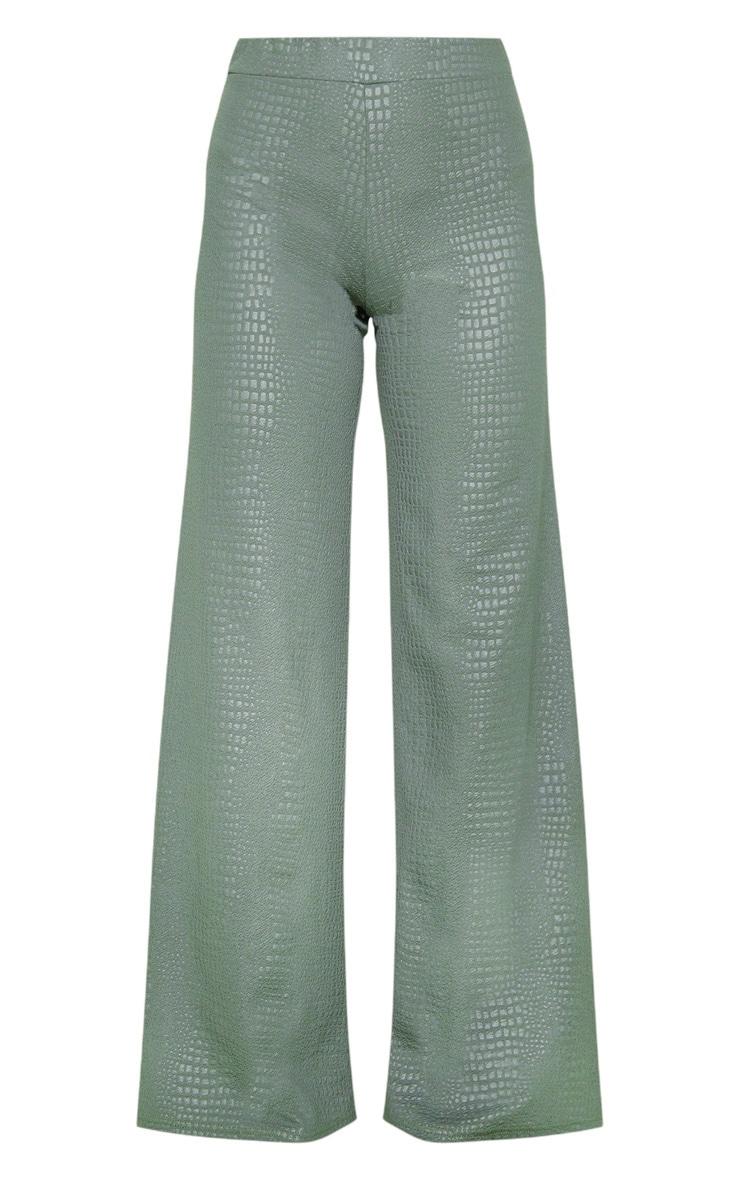 Khaki Croc Print Wide Leg Trouser 3
