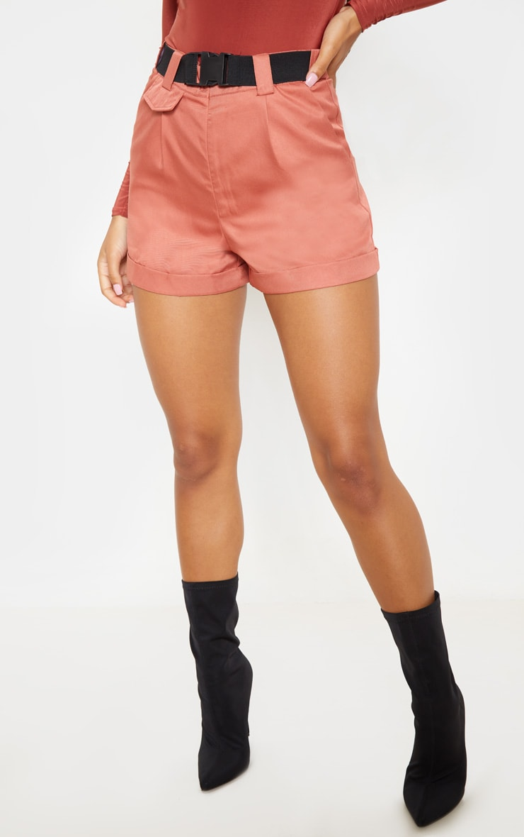 Dusty Rose Woven Belted Turn Up Hem Short  2