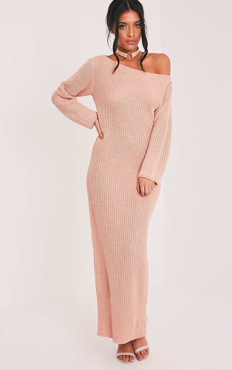 d41f65824e Adalynn Blush Off Shouldered Maxi Jumper Dress