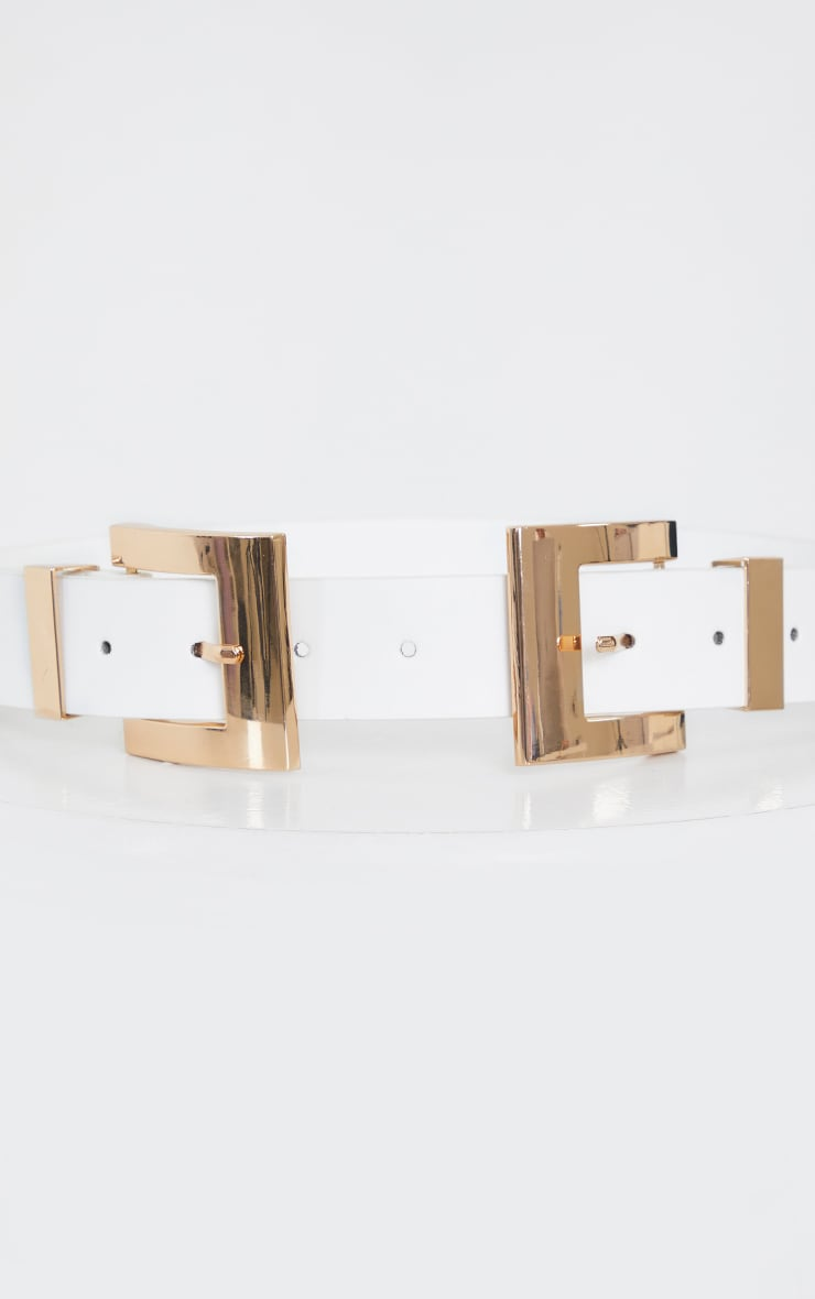 White Double Gold Square Buckle Waist Belt 2