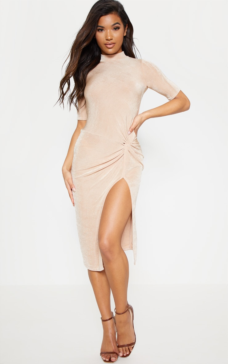Champagne Twist Detail High Neck Midi Dress