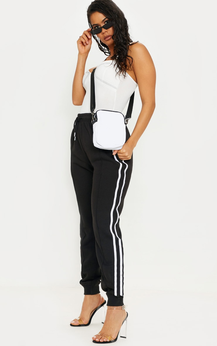 Black Double Side Stripe Joggers 1