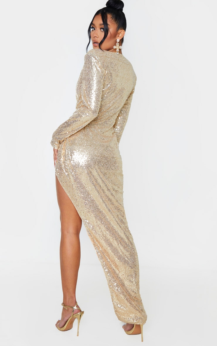 Gold Sequin Long Sleeve Plunge Wrap Detail Maxi Dress 2