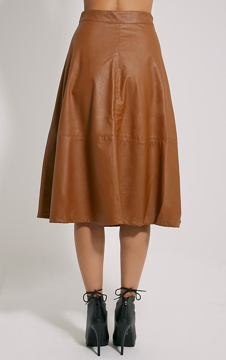 Alison Tan Faux Leather A-Line Midi Skirt 4