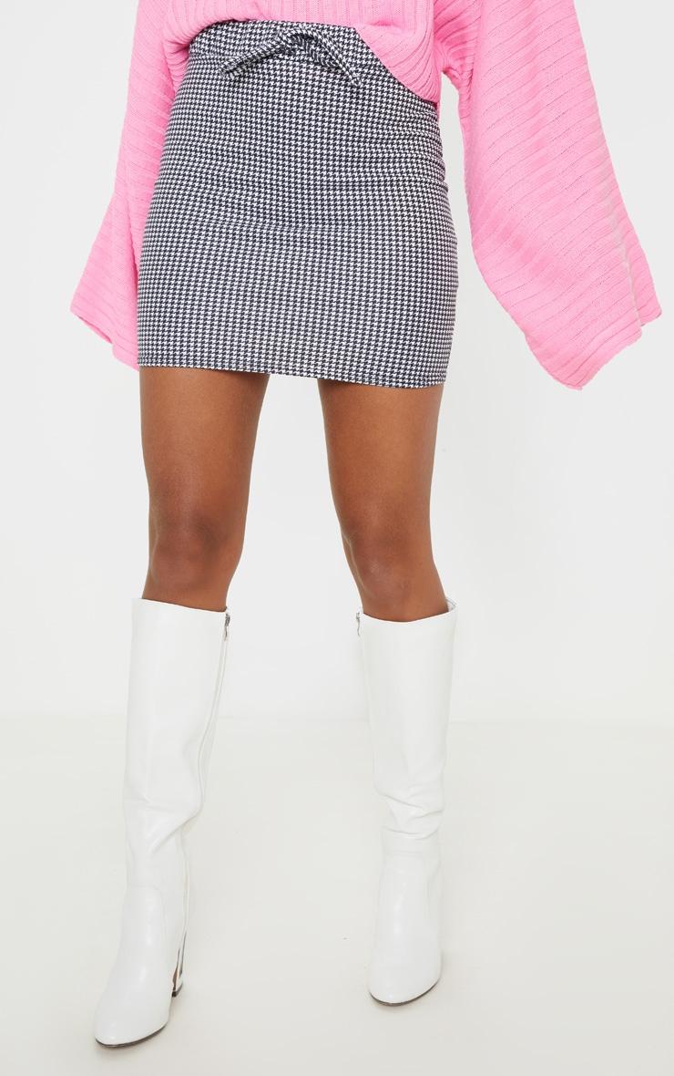 Dogtooth Printed Drawstring Waist Sweat Mini Skirt 2