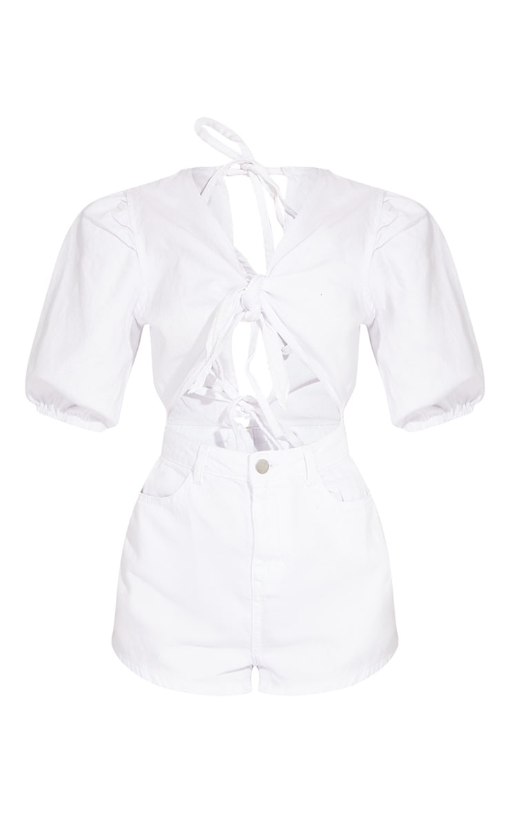 Petite White Cut Out Front Denim Playsuit 5